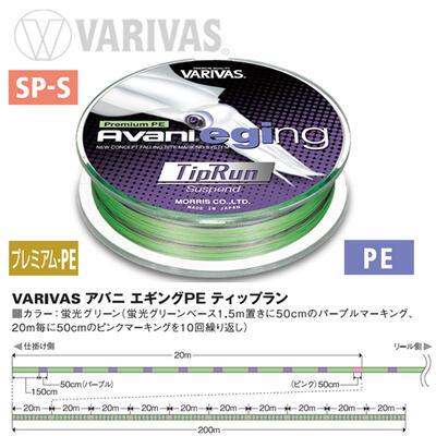 Fir textil Varivas Avani Eging Tip Run PE 4X Marking Fluo Green 12.1lb/200m