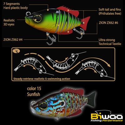 Swimbait Biwaa Seven Section 10cm/17g, culoare Sunfish